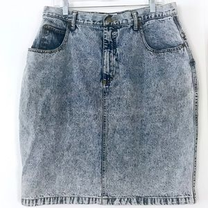 Vintage 1980's acid washed denim jean pencil skirt